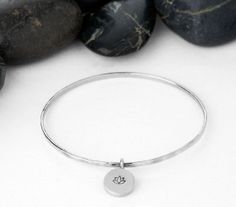 Sterling Silver Lotus Flower Bangle / Handmade / Eco Friendly / Recycled / Charm / Bracelet / handmade / Stacking