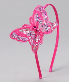 Take a look at this Fuchsia Sequin Butterfly Headband by Princess Expressions on #zulily today!