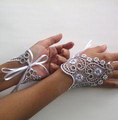 bridal hands fascinator wrist charm white silver by MammaMiaBridal, $24.00