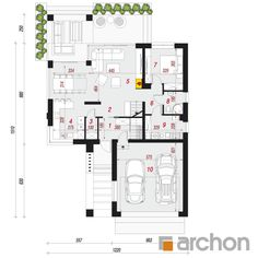Dom w jaskierkach 2 House Plans, Pergola, Floor Plans, How To Plan, Building, Houses, Blueprints For Homes, Construction, Home Plans