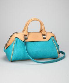 Take a look at this Peacock Blue & Tan Satchel on zulily today!