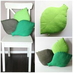 40 x 28cm Leaf cushion. Decorative green leaf, woodland nursery by WhisperOfThePipit. 20GBP (30.25USD)