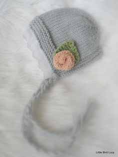 Knit Baby Hat, Gray Lace Bonnet, Knitted Newborn Infant Photo Prop, Removable Flower Clip, Choose Hat & Flower Colors, Newborn, 0-3 Mo
