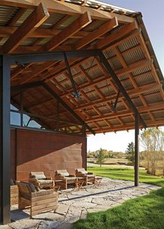 digging the awesome structure of this metal-roofed pavilion. LC Ranch, Bozeman, Montana, Lake|Flato Architects