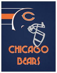 Chicago Bears Team Vintage Art Art Print by Joe Hamilton Bears Football, Football Is Life, Football Helmets, Football Fans, Chicago Bears Wallpaper, Hamilton Wallpaper, Bear Gallery, Joe Hamilton, Thing 1