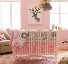 Chambre bébé grise et rose