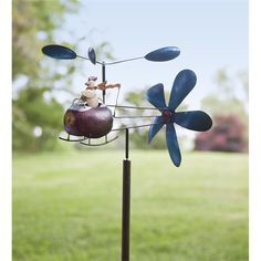 Chicken Helicopter Whirligig | Garden Art | Plow & Hearth