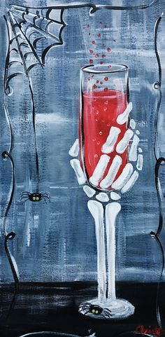 Death of wine Halloween Canvas Paintings, Fall Canvas Painting, Halloween Painting, Autumn Painting, Easy Paintings, Halloween Art, Diy Painting, Painting & Drawing, Canvas Art