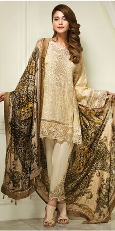 Anaya Golden Mist Luxury Eid Lawn 2017 Whatsapp: 00923452355358 Website: www. Pakistani Couture, Pakistani Outfits, Indian Outfits, Asian Fashion, Girl Fashion, Fashion Dresses, Eastern Dresses, Hippy Chic, Desi Wear