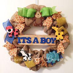 Burlap wreath baby wreath safari baby by TheLittleChandelier Shower Bebe, Diy Shower, Shower Ideas, Baby Shower Games, Baby Boy Shower, Baby Showers, Baby Boy Wreath, Baby Wreaths, Burlap Wreaths