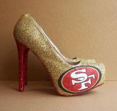 OMG!!San Francisco 49ers Glittered High Heels. $120.00, via Etsy.