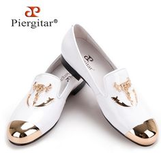 Gold Metal Toe and Metal Skull Buckle Men's Leather Shoes via Piergitar Shoes. Click on the image to see more!