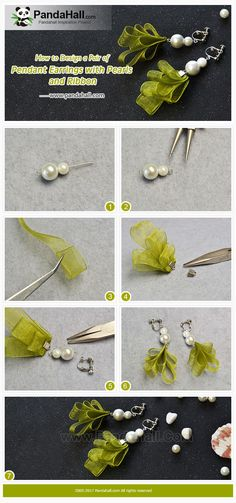 #Beebeecraft #Tutorial on making a pair of #pendant #earrings with #pearls and #ribbon