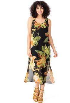 Floral A-line Chiffon Midi Dress Bali Retreat, Floral Chiffon Dress, Canadian Models, Line Design, Summer Tops, High Neck Dress, Suzy, Casual, How To Wear