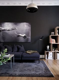 dark interior, black wall, dark sofa