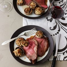 Sirloin Strip Roast with Roquefort Mushrooms | Food & Wine