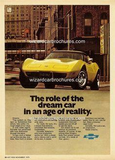 1977 CHEVROLET CORVETTE A3 POSTER AD SALES BROCHURE MINT