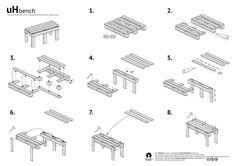 Bouwtekening om zelf een tuinbank van pallets te maken.
