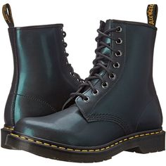 Dr. Martens 1460 Women's Lace-up Boots ($100) ❤ liked on Polyvore featuring shoes, boots, blue, genuine leather boots, blue leather shoes, lace-up platform boots, leather lace up boots and laced boots