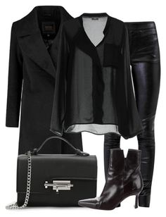 Black blouse+black leather pants+black heeled ankle boots+black wool coat+black chain shoulder bag. Winter Dressy Casual/ Night Date/ Night Out/ Dinner/ Going Out Outfit 2018