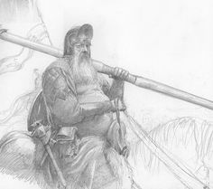 Alan Lee - Forlong the Fat. Alan Lee, Jrr Tolkien, Tolkien Books, Minas Tirith, Gandalf, High Fantasy, Fantasy Art, Ring Sketch, Story Drawing
