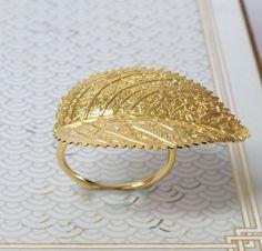 Gold Ring, Gold Leaf Ring, Woodland leaf Ring, #jewelry #ring @EtsyMktgTool http://etsy.me/2jpAarA #goldring #goldleafring #goldcocktailring