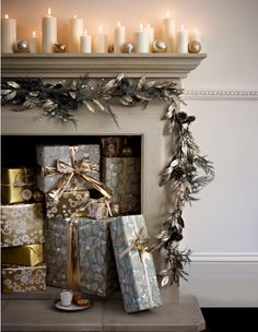 Candlelit fireplace.