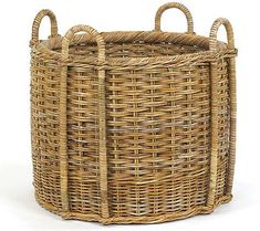 French Country Fireplace Storage Basket