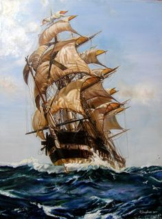 Montague Dawson - The Crest of a Wave Oil on canvas 36 x 24 inches Signed Provenance Private collection Rehs Galleries, Inc., New York City, 2011 Private collection, 2011 Tall Ships, Montague Dawson, Bateau Pirate, Old Sailing Ships, Ship Paintings, Nautical Art, Ship Art, Love Painting, Water Crafts
