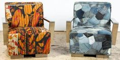 2 MCM Inspired Armchairs. One upholstered in Kantha quilt the other in patchwork denim.