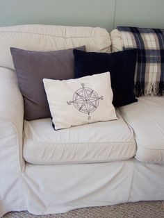 DIY - nautical compass embroidered pillow cover - madebyjoey