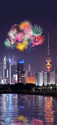 Kuwait City , Kuwait One of the few places where the local currency is worth more than a £ Places Around The World, Around The Worlds, Fireworks Photography, Skier, Diwali Wishes, Fire Works, City Lights, Places To See, Beautiful Places
