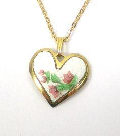 Vintage Guilloche Enamel Heart Necklace Pendant Gold by paleorama, $18.00