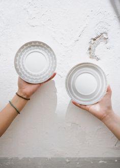 New for A/W, the Tu es la Vague Grey porcelain saucer and the Grandma's Goods porcelain saucer
