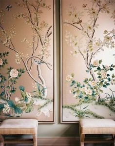 Framed chinoiserie wallpaper panels let you get the effect of wallpaper without actually wallpapering Wallpaper Panels, Of Wallpaper, Perfect Wallpaper, De Gournay Wallpaper, Bedroom Wallpaper, Gracie Wallpaper, Painted Wallpaper, Flower Wallpaper, Remove Wallpaper