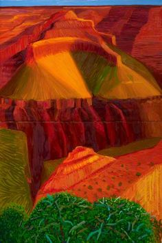 Double Study for A Closer Grand Canyon  by David Hockney  Royal Academy of Arts        Date painted: 1998      Oil on two canvases, 181.6 x 121.3 cm      Collection: Royal Academy of Arts