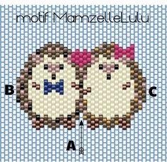 Tutorial Tissage brick stitch couple d'hérissons