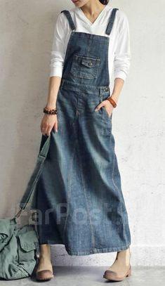 Details about Women's Loose Denim Full Length Dress Maix Long Suspender Jean Dress in 2020 Suspender Jeans, Suspender Dress, Jumper Dress, Jeans Dress, Denim Dresses, Denim Overalls, Denim Skirt, Mode Sombre, Denim Ideas