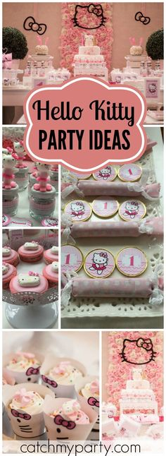 Such a pretty pink Hello Kitty themed girl birthday party! See more party ideas at CatchMyParty.com!