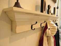White Entryway Shelf And Coat Hanger | Wall Shelf With Hooks - Hanger One Coat…