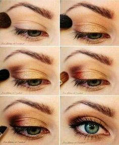 Pretty Golden Eye Makeup Tutorial for Blue Eyes