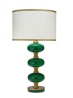 Stockholm Table Lamp – Emerald and Gold 3-way socket/clear cord/max 150 watt light bulb 28.75″Hx15″W