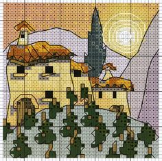 'Mountain Cottage' from Michael Powell's 'Mini Cross Stitch' book (paperback, pub. Search Press). There are twenty to make and they are all very quirky and appealing. I have made most of the pictures in this book for someone or other and they are a real pleasure to work on.