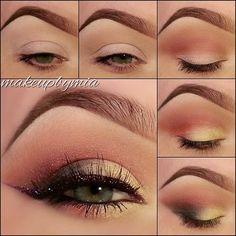 "1) Apply ""Eye Base"" all over the lid up to the brow bone then Apply ""Cappuccino"" eyeshadow in the crease and blend it upwards to the brow bone. 2)Apply ""Red Earth"" eyeshadow in the crease. 3)Apply ""Vanilla"" eyeshadow to the lid. 4)Apply ""Twilight"" eyeshadow to the outer v, blending it halfway onto the lid and into the crease.  5) Line inner rims with ""Black"" pencil liner then create a wing on your upper lashes using @Chrystal Miller's ""Amethyst"" gel liner, using a small detailing brush and…"