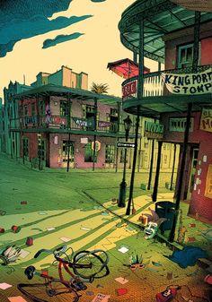 Новый Орлеан в иллюстрациях Ольвье Боном | teplyakovbagishvili