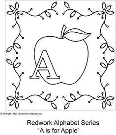 Free Redwork Alphabet Patterns A through G - Redwork Alphabet Embroidery Series Part 1