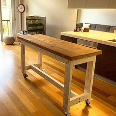 Shabby Chic Industrial Recycled Rustic White Timber Wooden High Bench Kitchen Island Solid Dining Bar Table Console