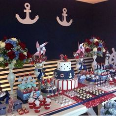 Nautica Anchor Baby Showers, Navy Party, Mickey Mouse, Birthdays, Holiday Decor, Babyshower, Bouquets, Leo, Babies