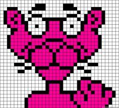 Pink Panther perler bead pattern