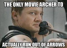 The only movie archer to ever run out of arrows. And only after a ridiculously long amount of time I might add. #hawkeye #avengers